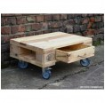 Rolling table of upcycled Euro Paletts with 1 drawer
