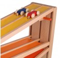 Wooden double track speedway with 4 coloured racing cars