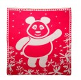 "Eco Baby Blanket ""Panda Bear"" of organic cotton - red"