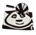 "Eco Baby Blanket ""Panda Bear"" of organic cotton - black"