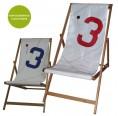 Deckchair »Transatlantic 3« of recycling canvas | Marron Rouge