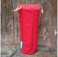 Bottle Bag made of Organic Cotton Red