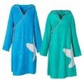 Bamboo Terrycloth Wrap Dress Women Green / Blue | early fish