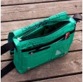 Upcycling Messenger Bag Green Fish