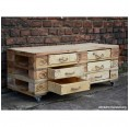 Sideboard of recycled Europallets with 6 drawers