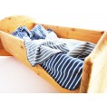 Baby Blanket & Swaddle Blanket of organic jersey, maritime-white striped | Ulalue