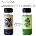 Dora's Coffee and Tea to go Glass Cup in Neoprene Sleeve