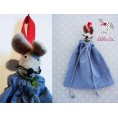 """Jeans Organic Cloth Bags """"Mouse"""" for Baby Bed 