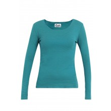 Long-sleeved shirt with narrow stripes turquoise-petrolblue