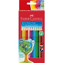 Faber-Castell Crayon Colour Grip, cardboard box set of 12 non-toxic Eco Pencils