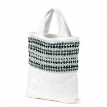 Ganga | white wool and felt bag | shopping bag