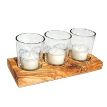Lantern Candle Trio VETRO in glass jars on an olive wood tray
