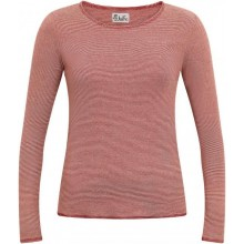 Rust-red natural finely striped Longsleeve with contrasting colour hem