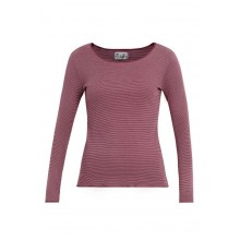 Pink-Ruby ringed Organic Cotton Long-sleeved T-Shirt with contrasting hem by JALFE