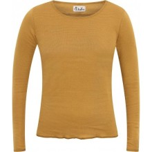 Longsleeve Curry-Brown finely ringed with contrasting colour hem