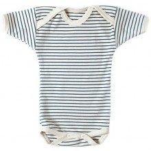 Blue-white striped short-sleeved Baby Bodysuit, Organic Cotton, Lotties