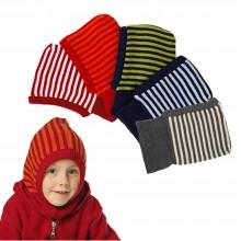 Striped Snood & Balaclava – Kids Beanie Organic Wool & Cotton