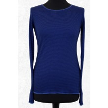 Long-sleeved shirt with narrow stripes royal blue