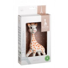 Sophie the giraffe in a white gift box
