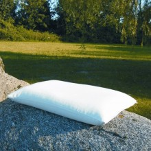 Pillow with Organic Spelt and Natural Rubber and Pillow Slip of Organic Cotton Herringbone Ticking