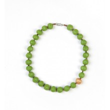 Necklace Green with Gold Bead – Eco Paper