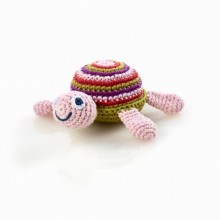 Pebble Turtle Rattle pink – Organic Cotton