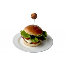 Burger Skewers with small Plate of Olive Wood