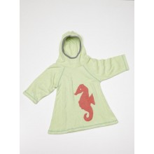 Terrycloth Dress, Light Green with Seahorse, Girls, Organic Cotton