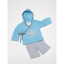 Terrycloth Set for Children: Wrap Top with Hood & Shorts, Organic Cotton