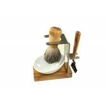4 pieces Shaving Set AMRUM made of Olive Wood & Stainless Steel, with Shaver & Badger Hair Shaving Brush
