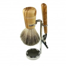 "Shaving Set PUR of Olive Wood incl. Razor ""Makalu"" Mach3, Badger Hair Shaving Brush & Holder, 3 pieces"