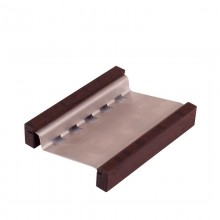 Soap Dish, angular, with Stainless Steel Shelf Space and Thermo Wood