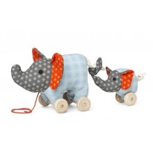Pull Toy Elephant Noma with Baby