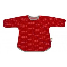 Red Apron – Bib with Sleeves – Organic Cotton with Velcro