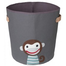 Storage bin Boss dark monkey made of organic cotton Ø 36 cm