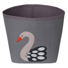 Storage bin Swan Ida made of dark organic cotton Ø 21 cm
