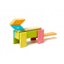 Magnetic Wooden Building Blocks 14-Piece Set, colored