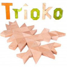 Trioko Triangles Wooden Building Bricks in Natural, Green or Orange