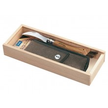 Opinel N° 8 Mushroom Pocket Knife, Oak Wood Handle, with Sheath in a wooden box