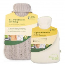 Organic hot water bottle made of natural rubber with cover of organic cotton