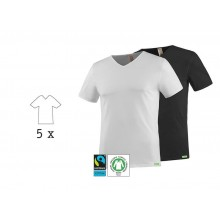 SoulShirt V-Neck T-Shirt, Fairtrade & Organic Cotton, 5 Pack, kleiderhelden