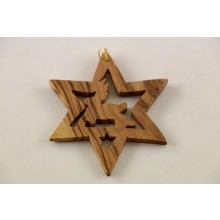 "Advent decoration ""Star with Reindeer"" of Olive Wood, Type 7"
