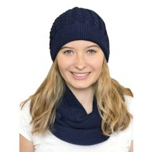 Alpaca Matching Set Loop Scarf & cable-knit Hat, 100% Baby Alpaca, navy