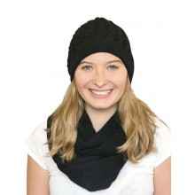 Alpaca Matching Set Loop Scarf & cable-knit Hat, 100% Baby Alpaca, black