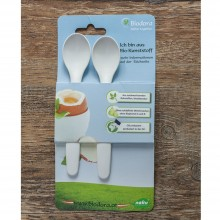 Biodora Baby Spoon and Egg Spoon made of bioplastic, 2 pack, white