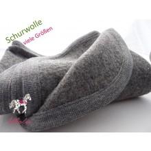 Baby Wool Blanket of certified pure new wool, Grey with grey hem
