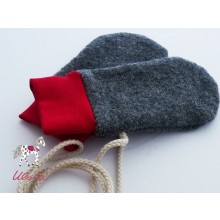 Eco Wool Broadcloth Baby Mittens without thumb, anthracite & plain cuffs red