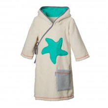 Kids Bathrobe Natural with Starfish, Organic Cotton
