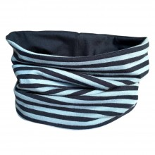 Loop scarf Navy/Blue striped and plain Blue
