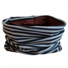 Loop scarf Navy/Blue striped and plain Brown